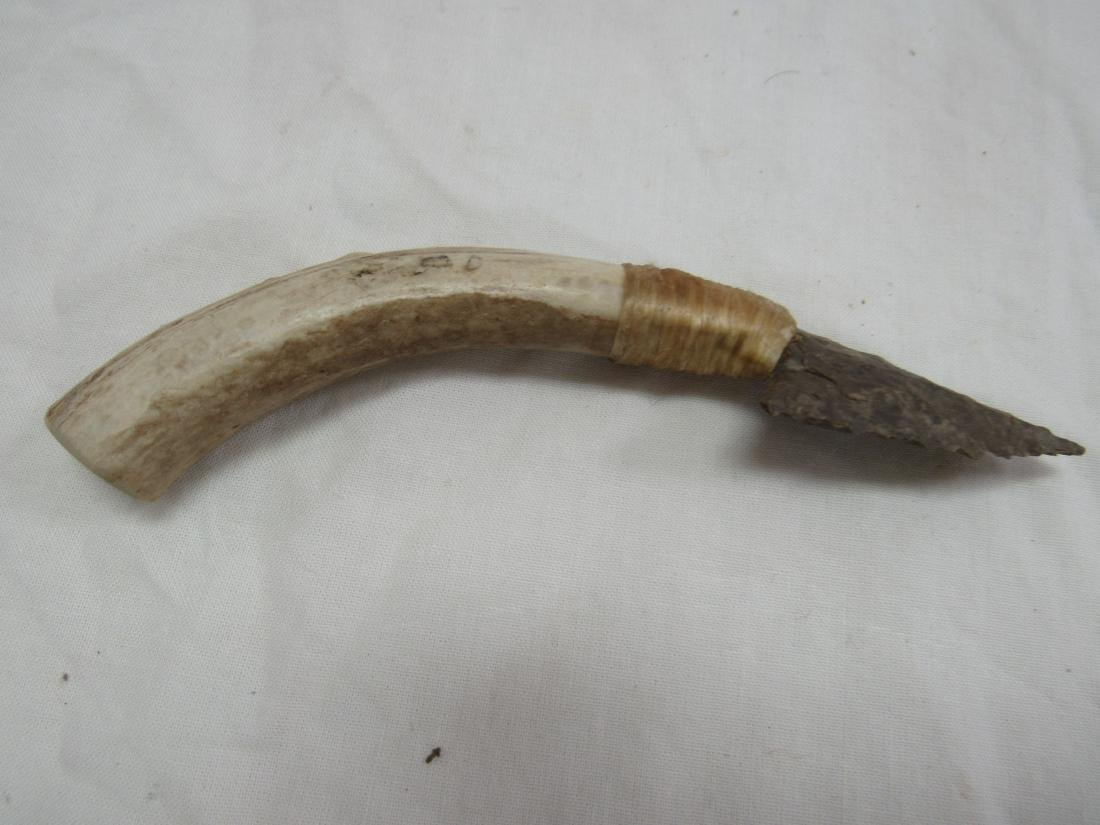 Flint Blade Antler Handled Indian Knife - 3
