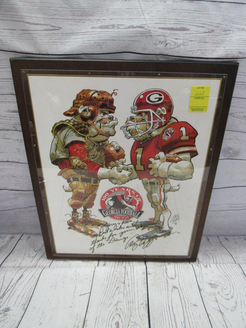 Framed and Autographed Georgia Bulldog Print