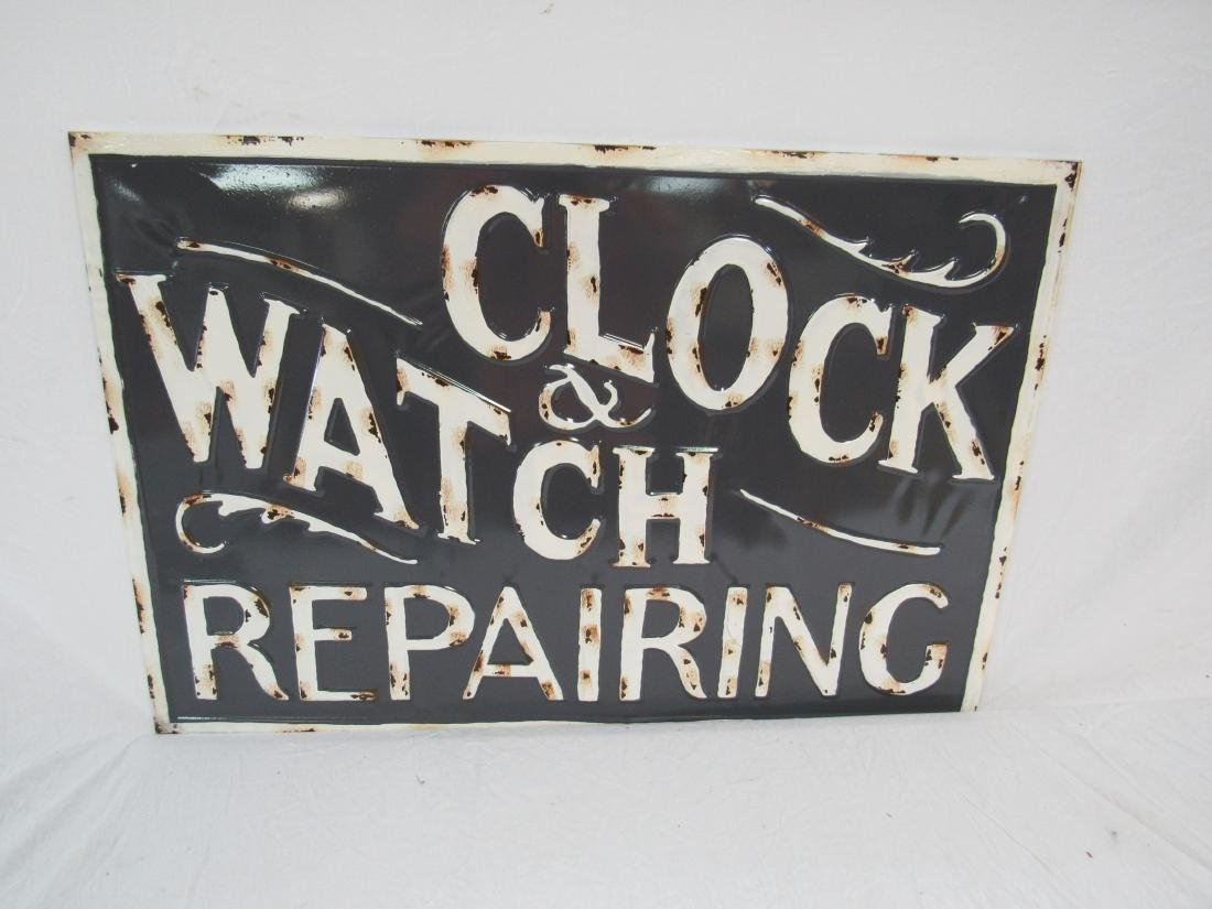 Vintage Inspired Embossed Clock and Watch Sign