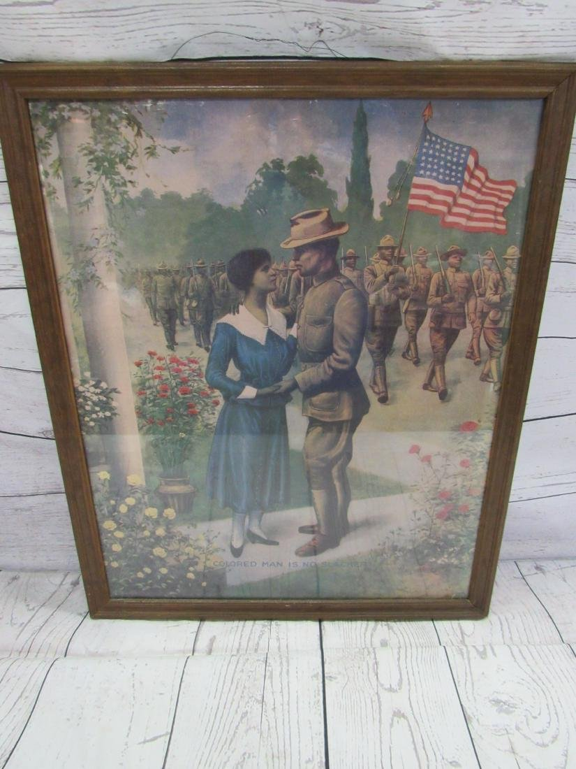 Antique Print Depicting WWI African American Soldiers