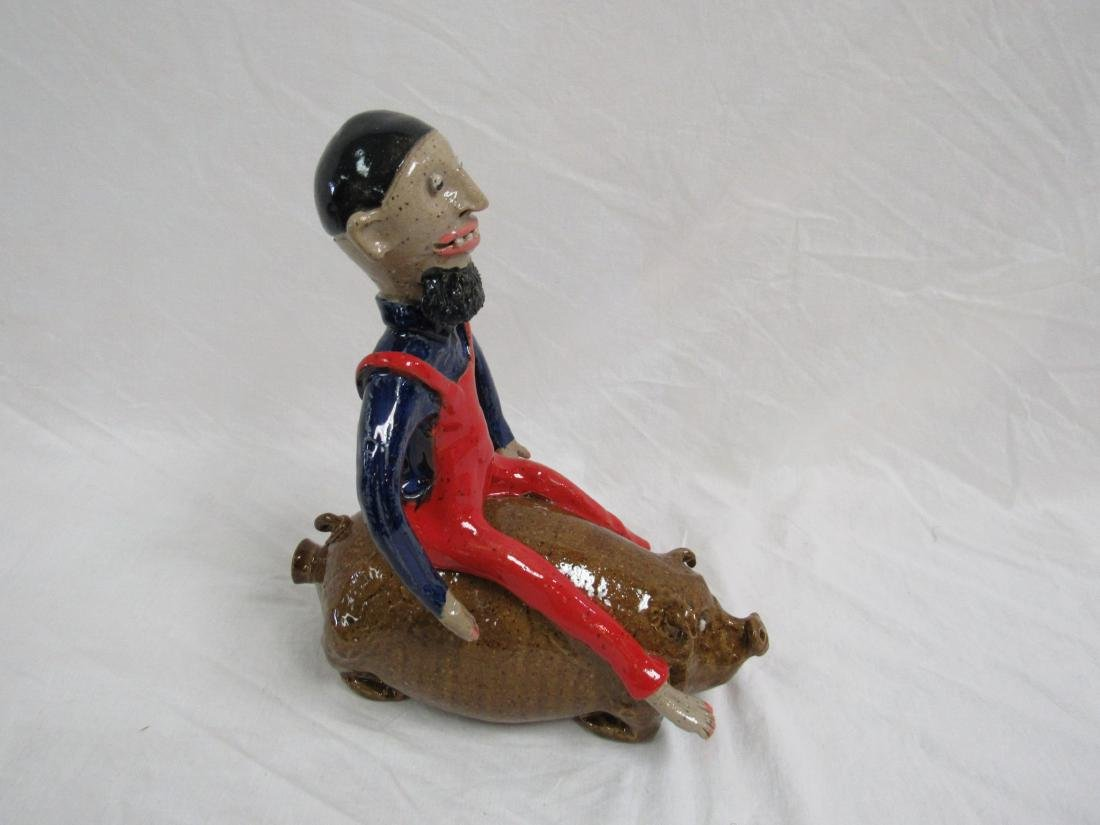 Southern Folk Art Marvin Bailey Pig Jug with Rider - 4