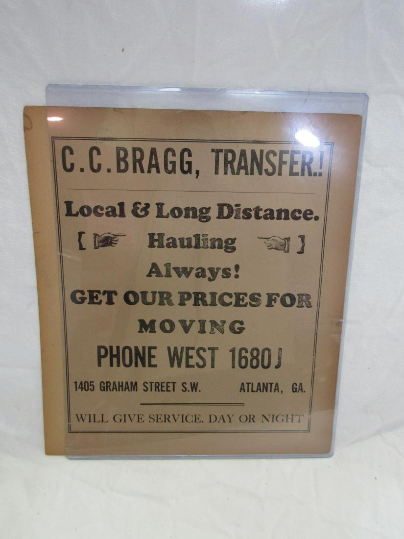 C.C. Bragg Transfer Advertising Flyer