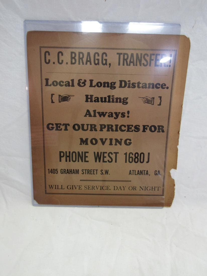 C.C. Bragg Transfer Advertising Flyer