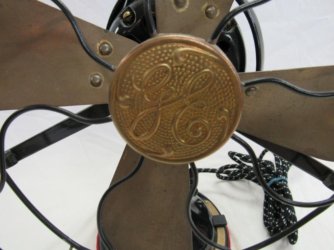 """1930s/1940s Antique GE 12"""" Brass Bladed Fan - 2"""
