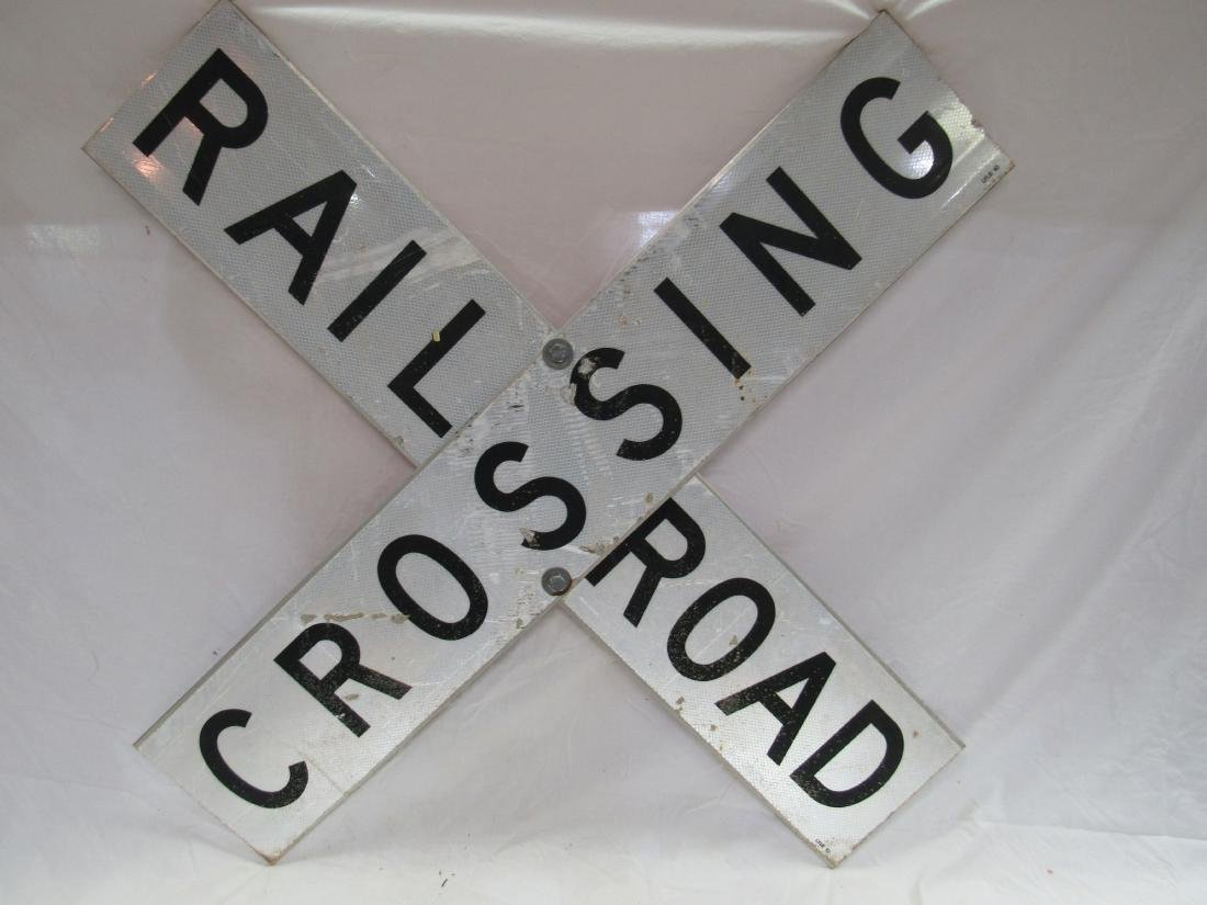 Vintage Railroad Crossing Sign with Reflective Finish