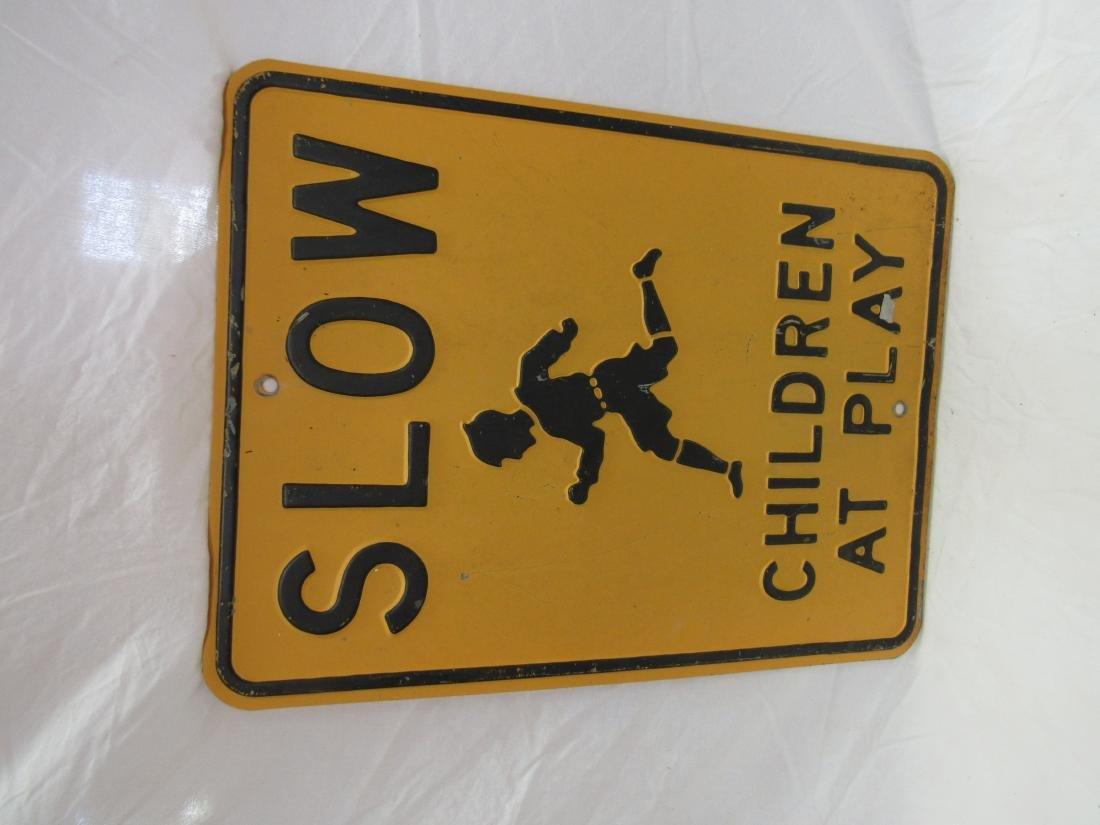 Vintage Embossed Slow Children at Play Sign