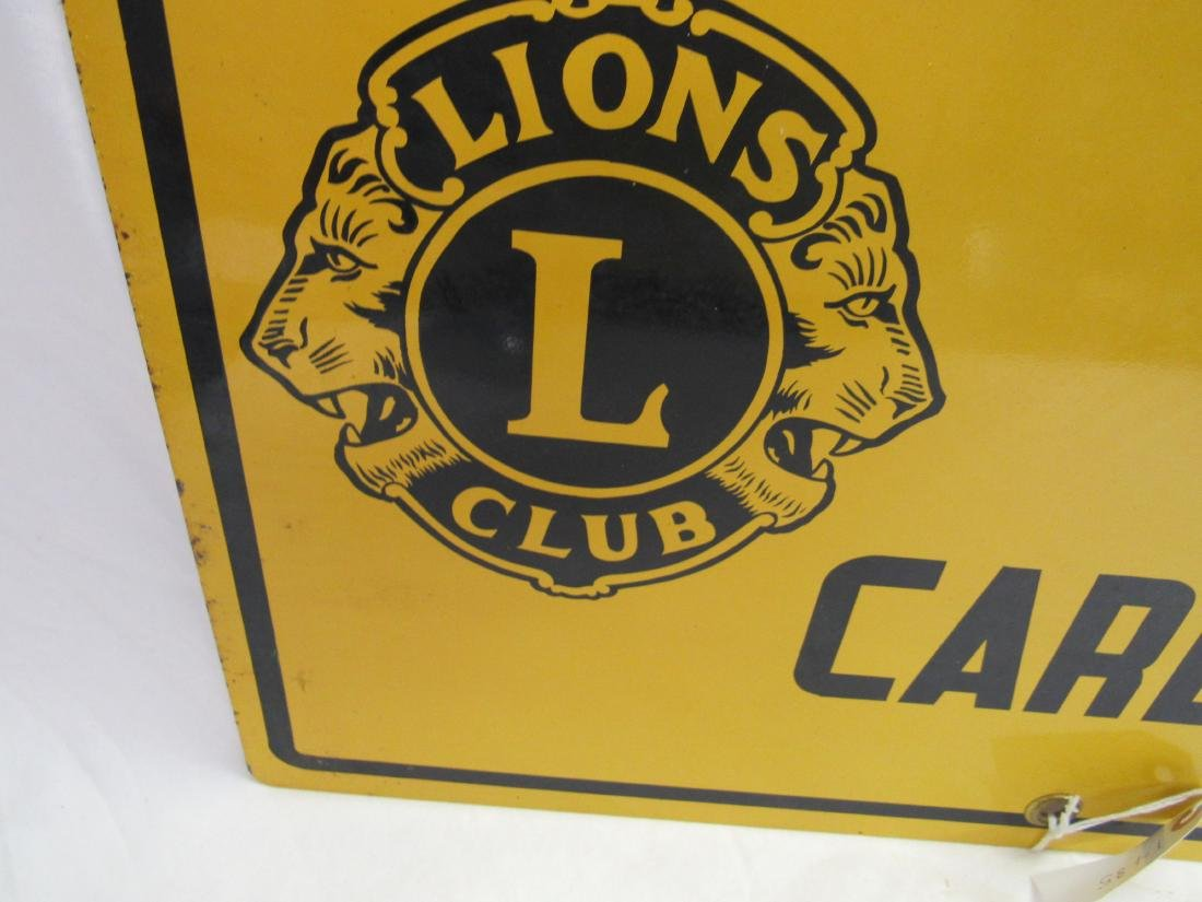 Porcelain NOS Lions Club Sign - 2