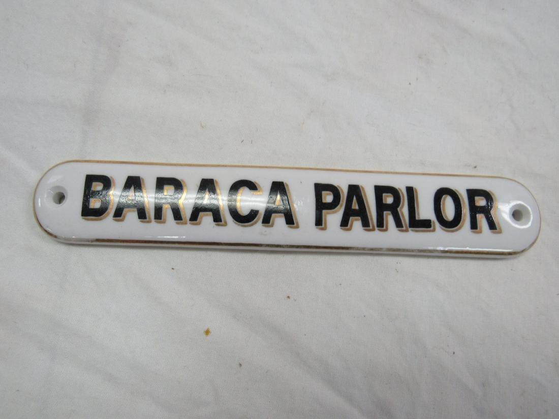 Antique Baraca Parlor Porcelain Sign