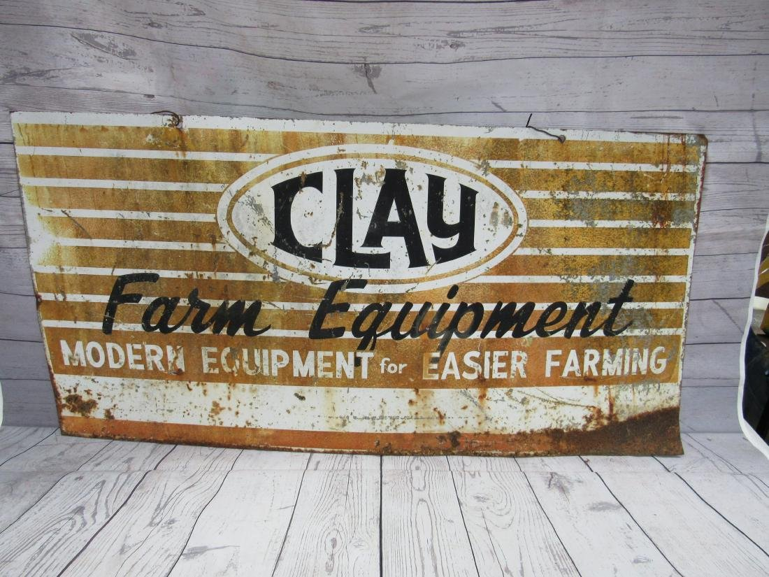 Vintage Double Sided Clay Farm Equipment Sign
