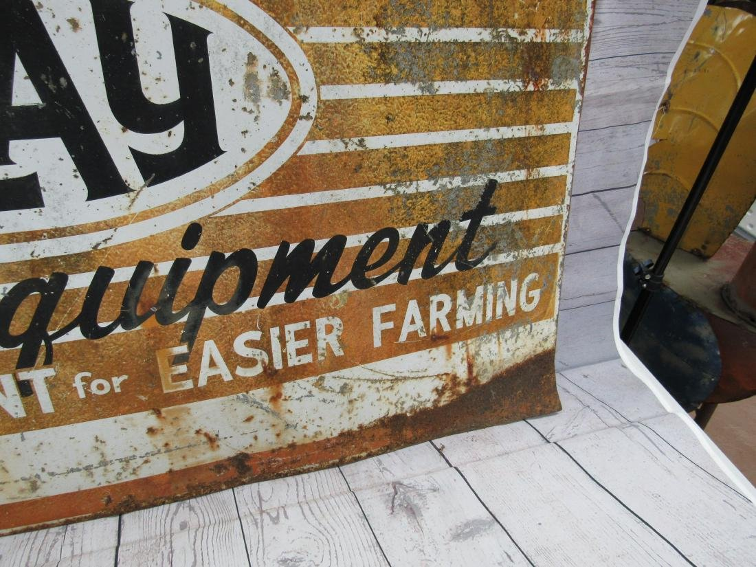 Vintage Double Sided Clay Farm Equipment Sign - 2