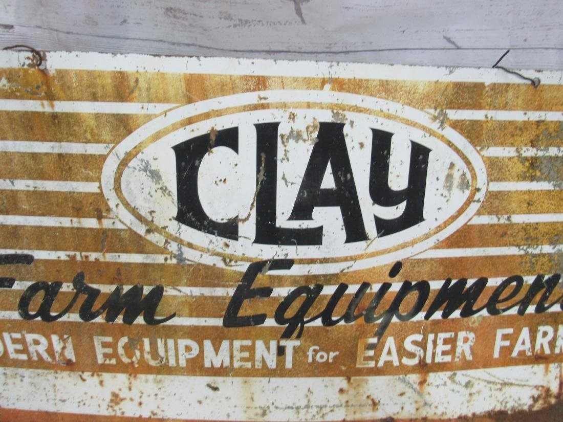 Vintage Double Sided Clay Farm Equipment Sign - 3