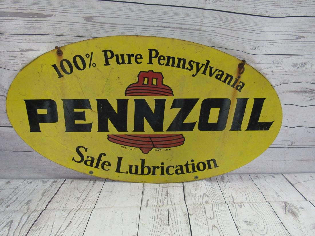 Double Sided 1970 Pennzoil Sign