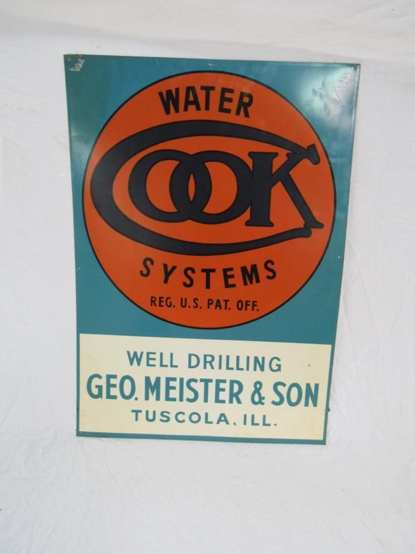 NOS Cook Water Systems Tin Sign