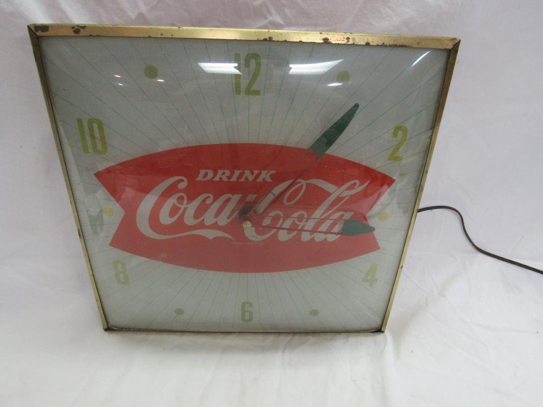 Vintage Coca-Cola Fish Tail Pam Clock - 2