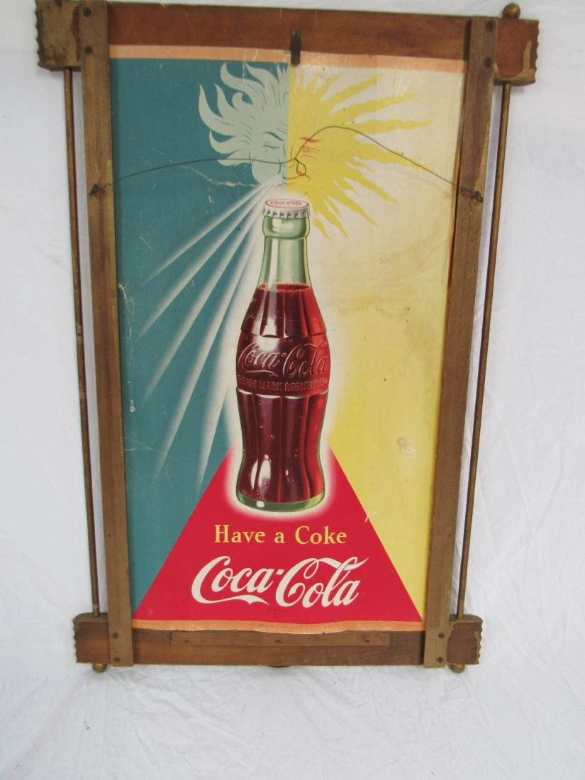 1950 Double Sided Carboard Coca-Cola Sign - 4