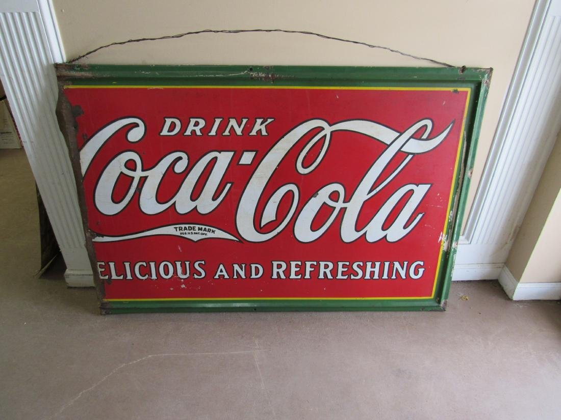 1930's Single Sided Porcelain Coca Cola Sign