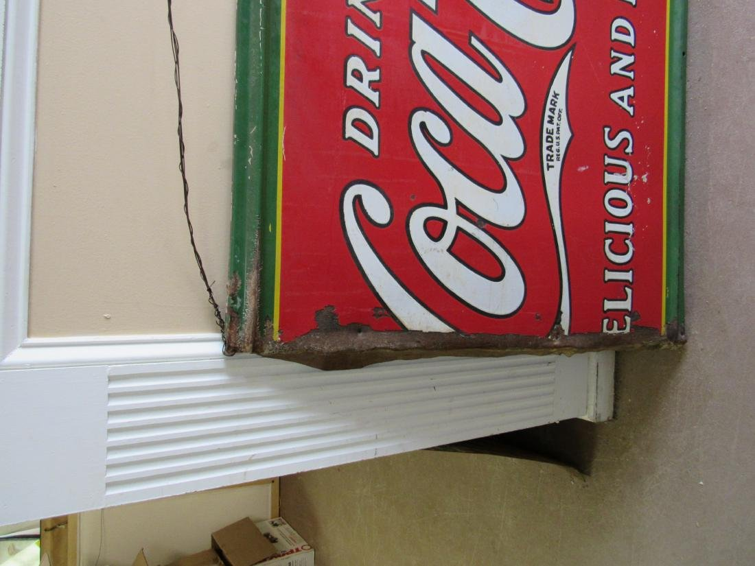 1930's Single Sided Porcelain Coca Cola Sign - 2