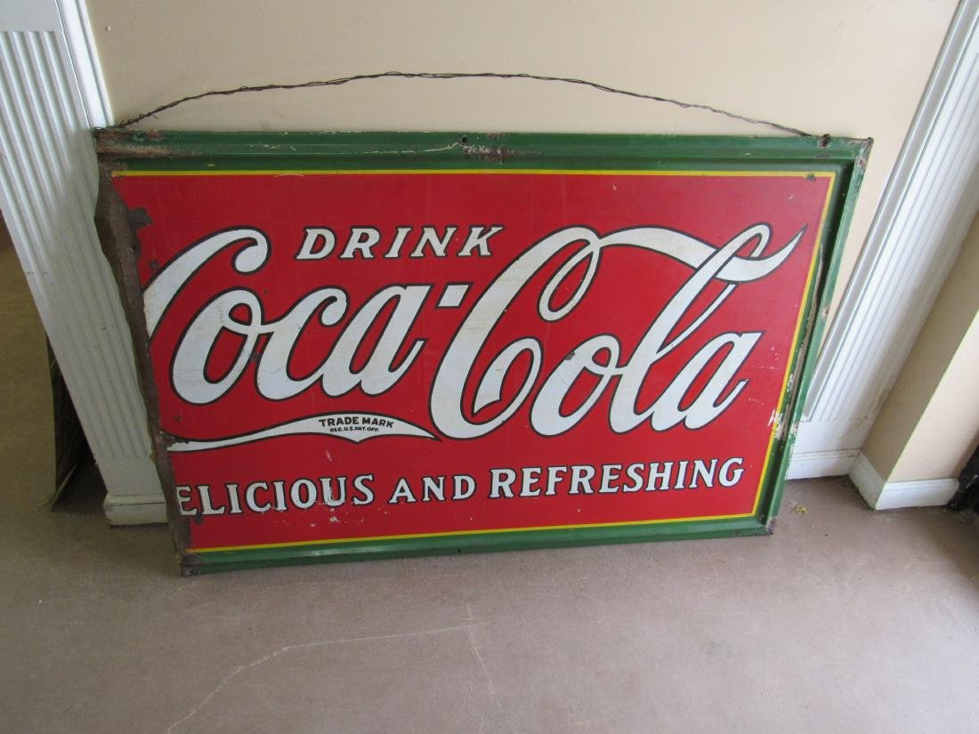 1930's Single Sided Porcelain Coca Cola Sign - 3