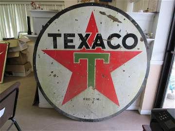 "72"" Double Sided Porcelain Texaco Sign"