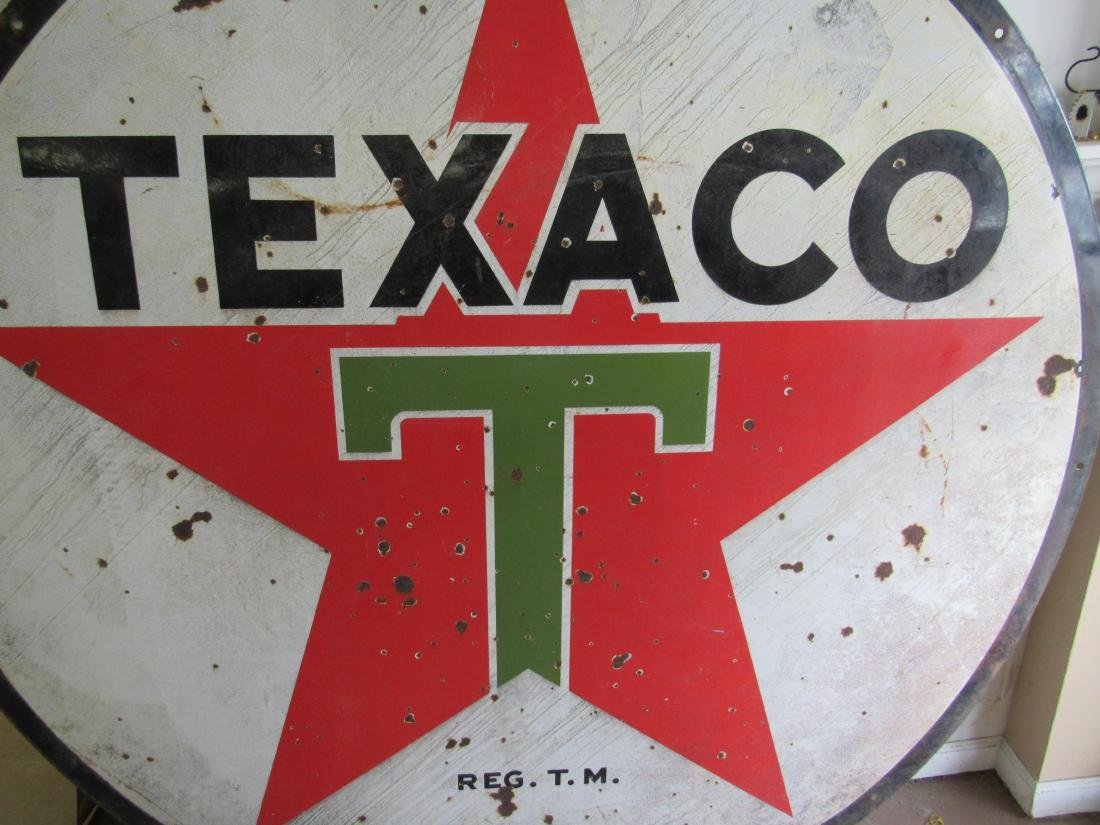 "72"" Double Sided Porcelain Texaco Sign - 6"