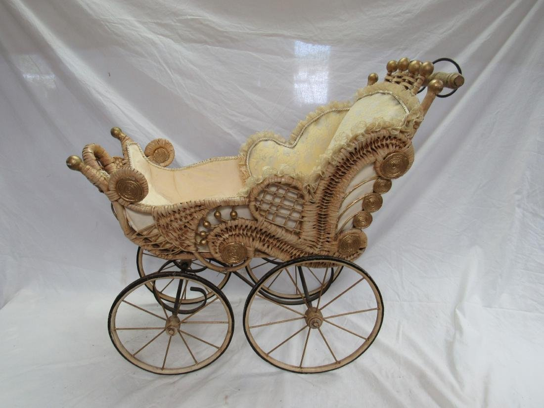 Victorian Stick and Ball Wicker Stroller