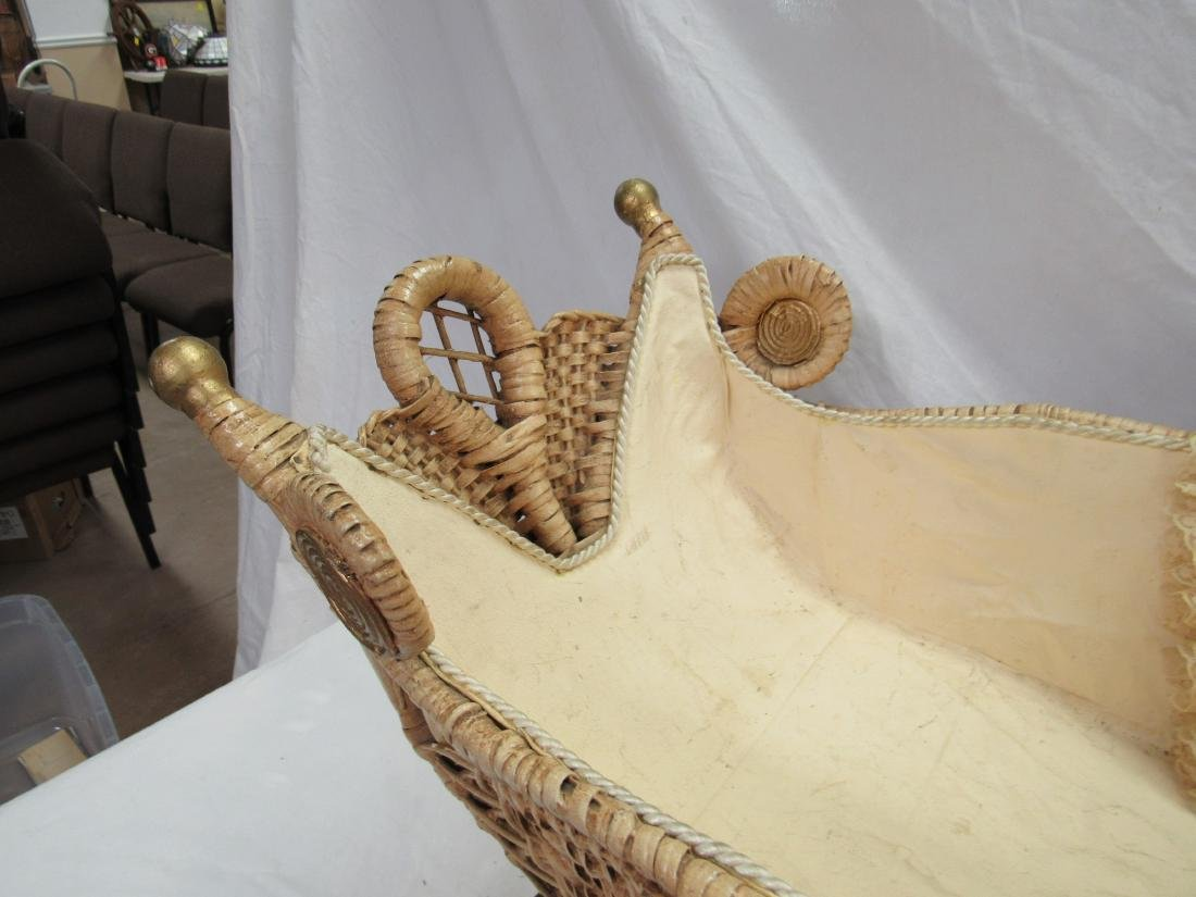 Victorian Stick and Ball Wicker Stroller - 4