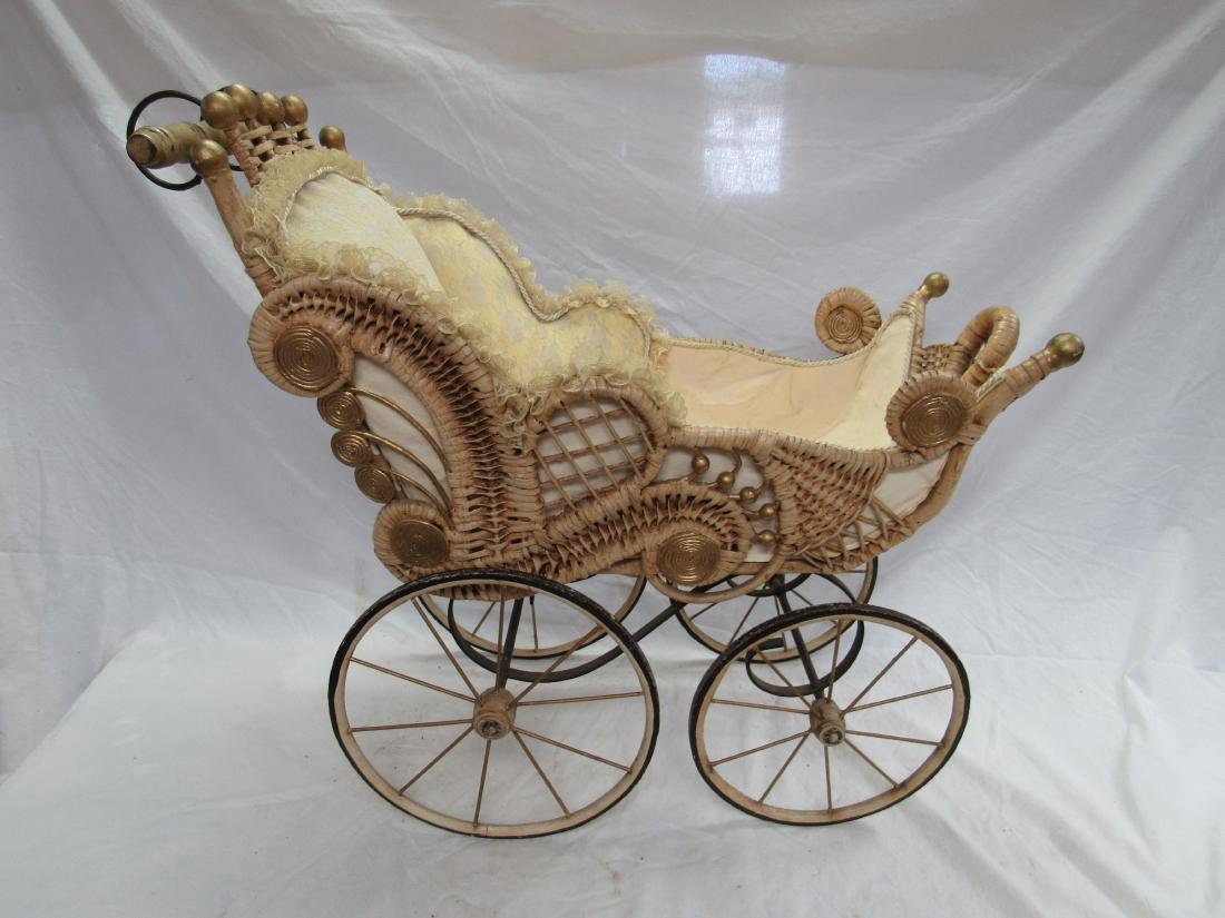 Victorian Stick and Ball Wicker Stroller - 5