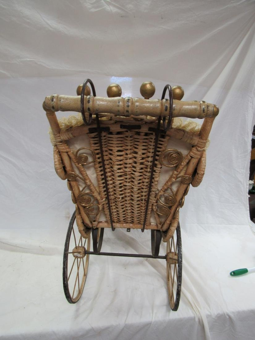 Victorian Stick and Ball Wicker Stroller - 6