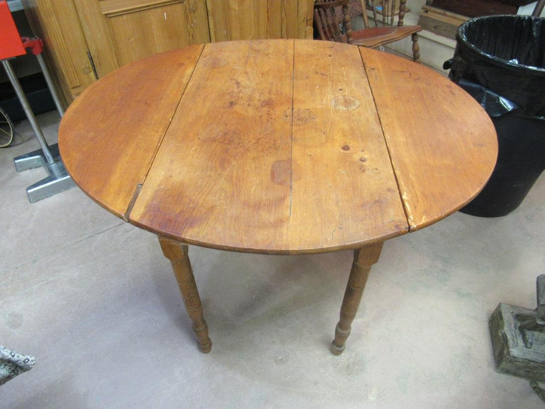 Primative Pine Drop Leaf Table - 4