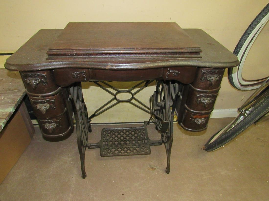 Antique Sewing Machine with Rams Head Drawers