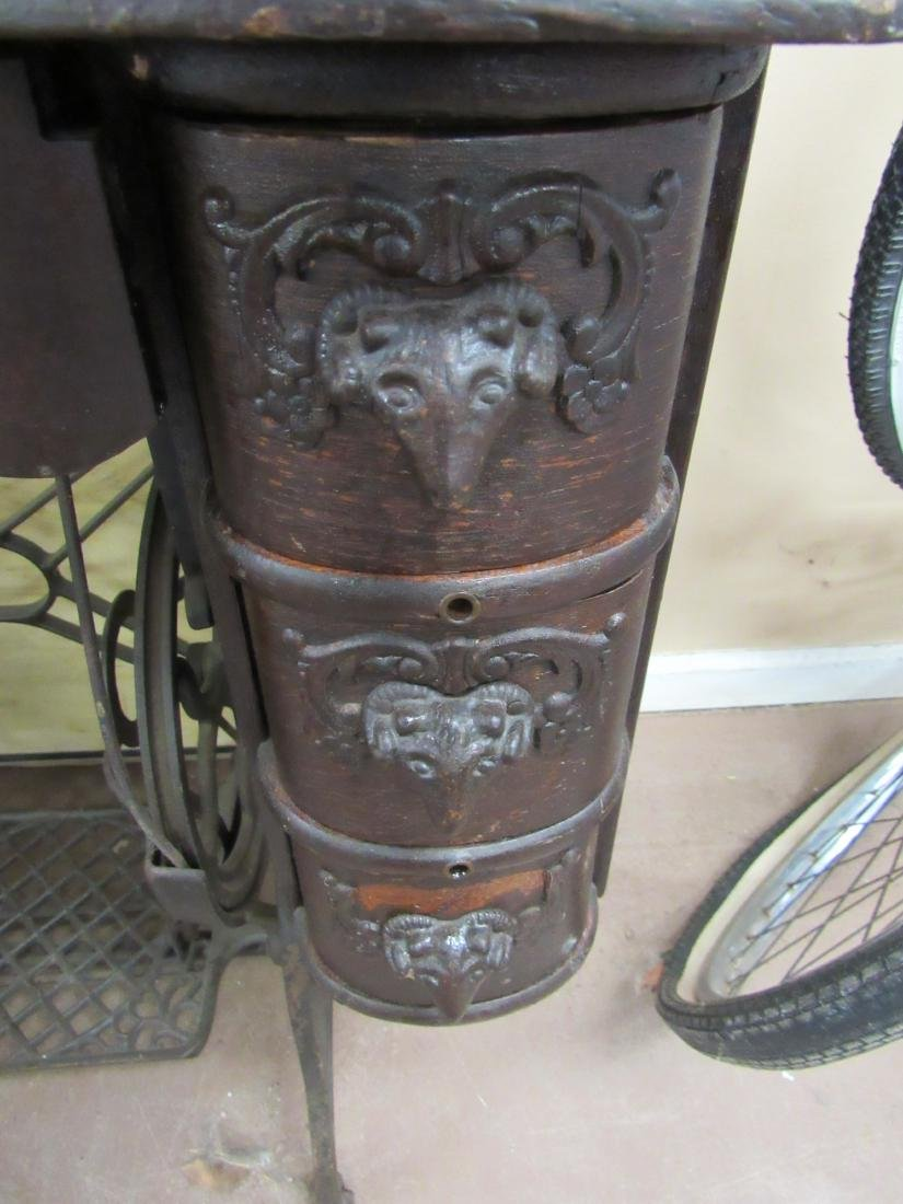 Antique Sewing Machine with Rams Head Drawers - 2