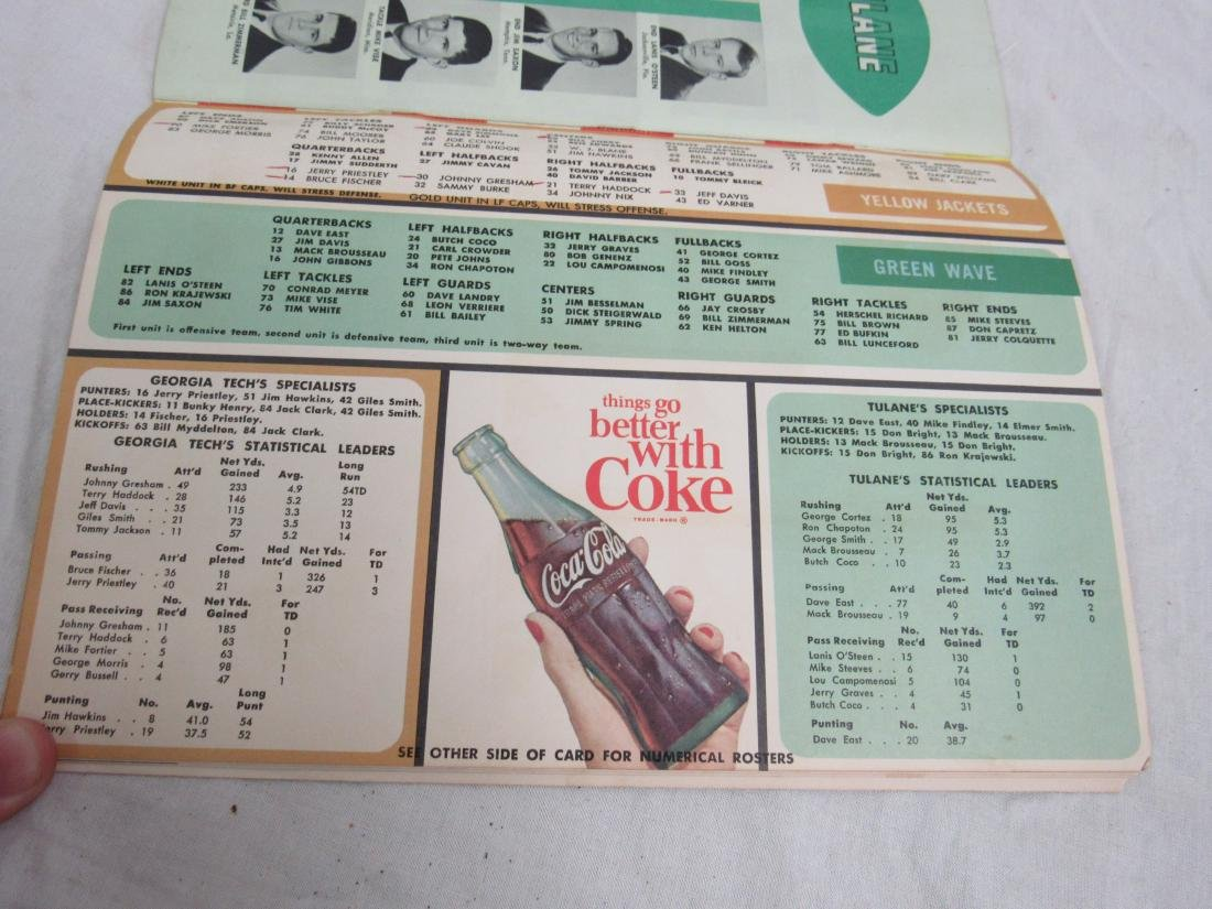 Vintage 1964 Georgia Tech vs Tulane Homecoming Souvenir - 4