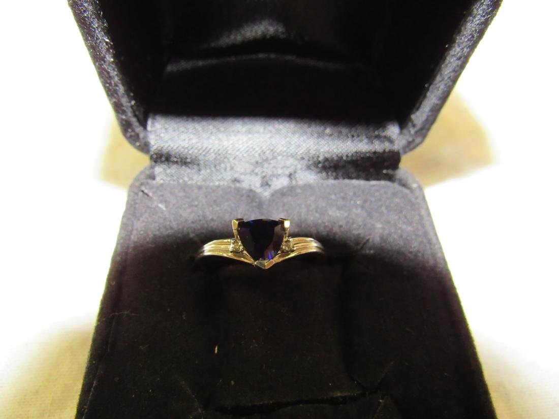 Vintage Ladies 10K White Gold Sapphire and Diamond Ring