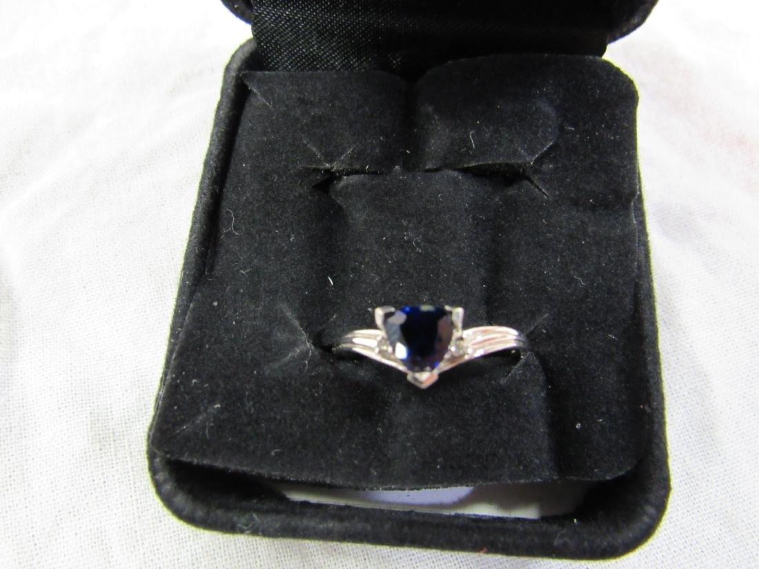 Vintage Ladies 10K White Gold Sapphire and Diamond Ring - 2