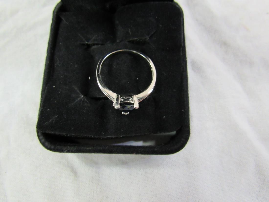 Vintage Ladies 10K White Gold Sapphire and Diamond Ring - 3