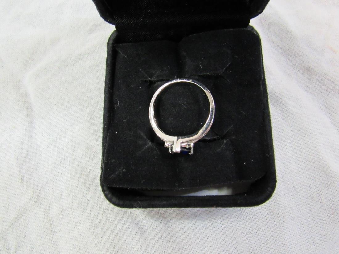 Vintage Ladies 10K White Gold Sapphire and Diamond Ring - 4