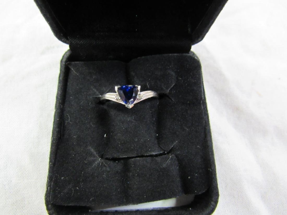 Vintage Ladies 10K White Gold Sapphire and Diamond Ring - 5