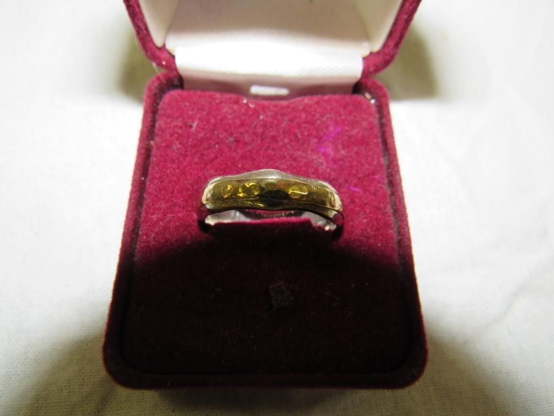 Vintage Mens Sterling and 14k Gold Ring