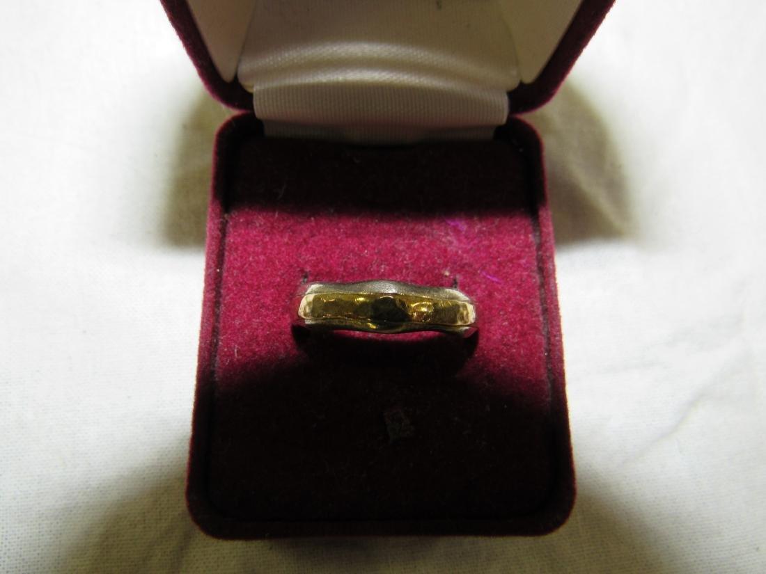 Vintage Mens Sterling and 14k Gold Ring - 2