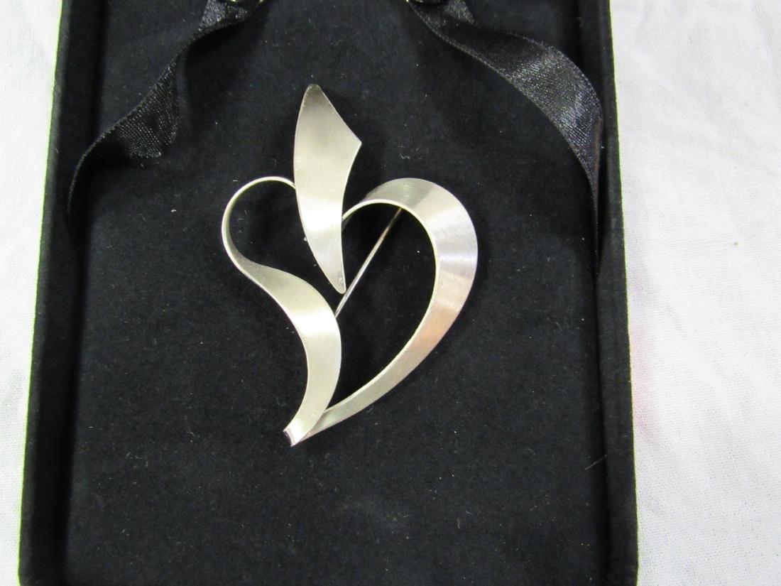 Vintage Sterling Heart Brooch - 2