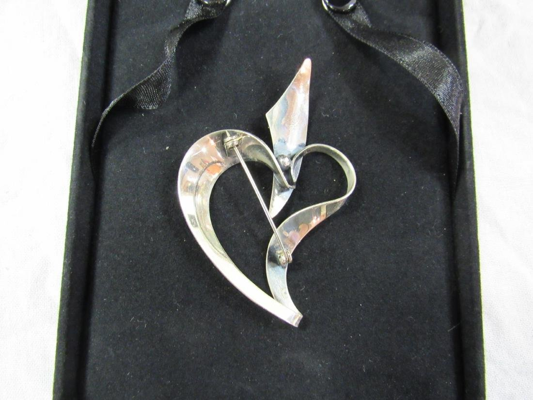Vintage Sterling Heart Brooch - 3