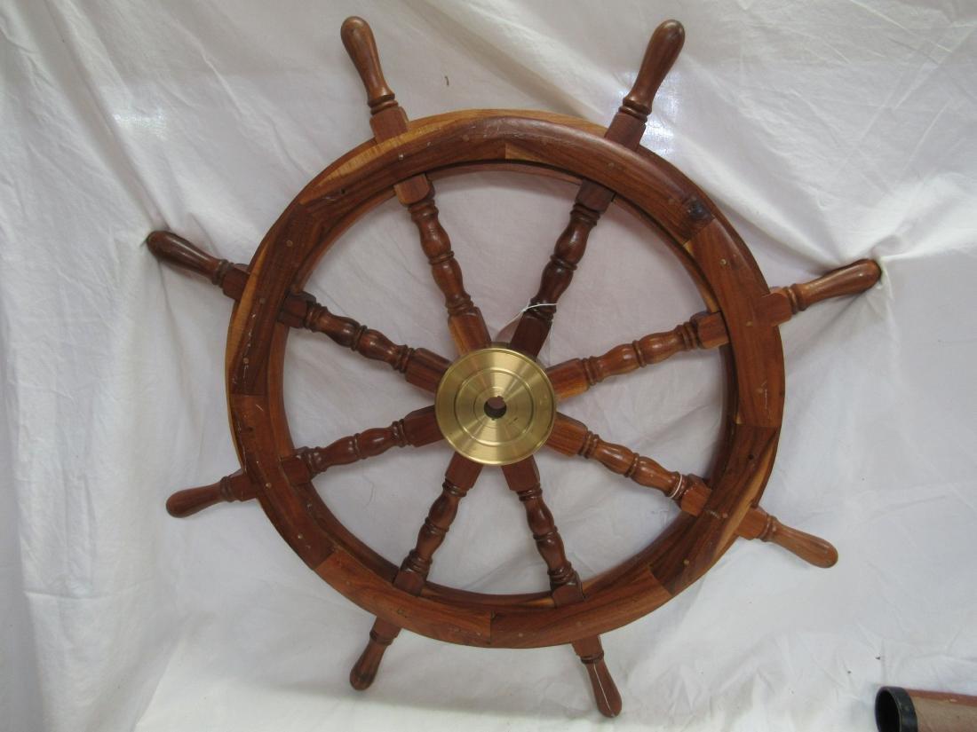 Large Vintage Ships Wheel - 4