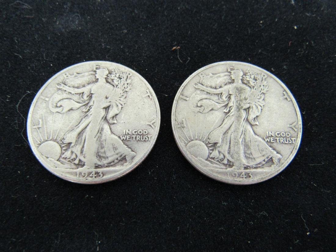 Lot of (2) 1943 Walking Liberty