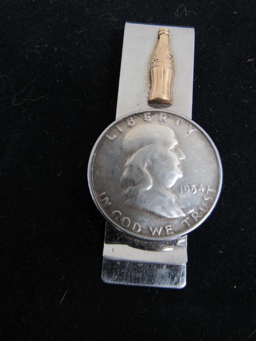 1954 Coca-Cola Money Clip with Franklin Silver Half