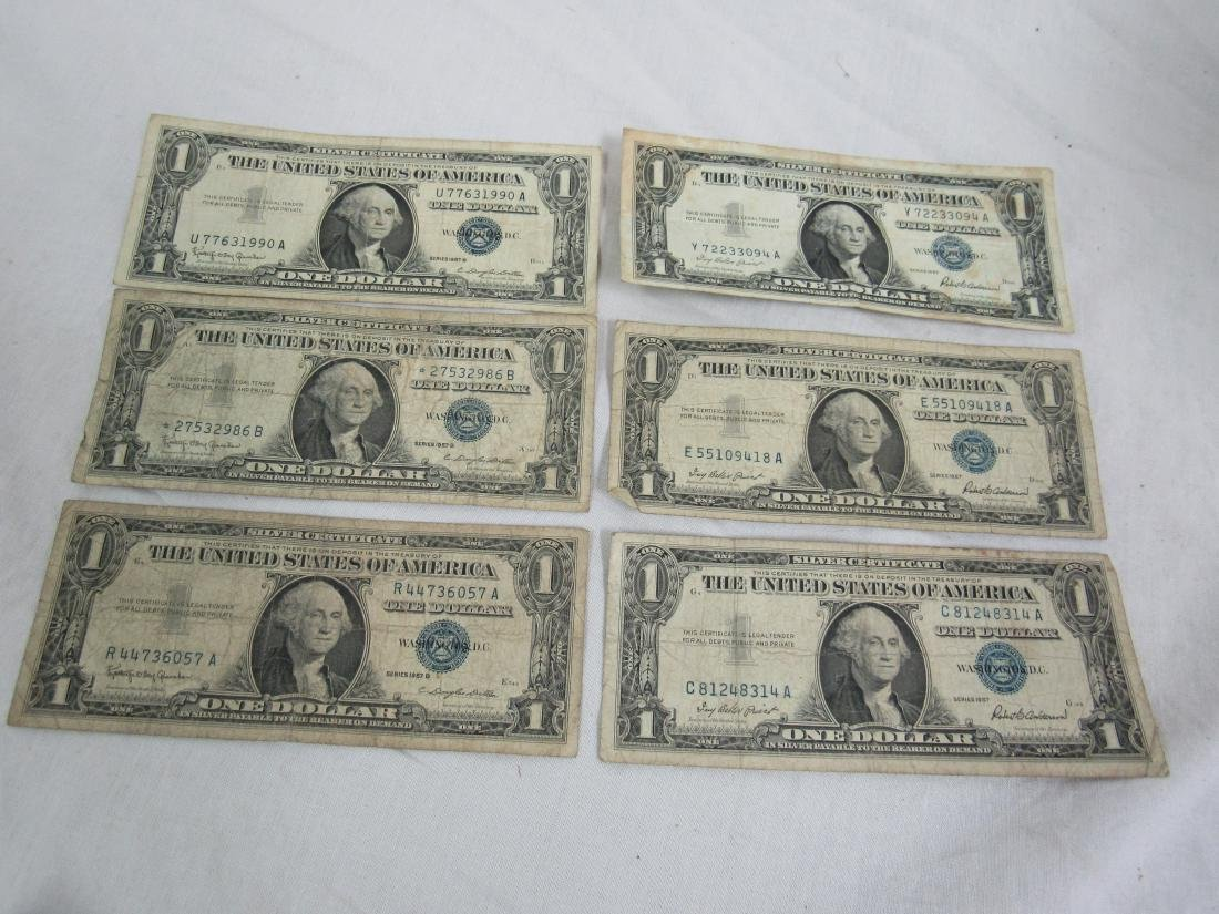 Lot of 6 1957 Silver Certificates