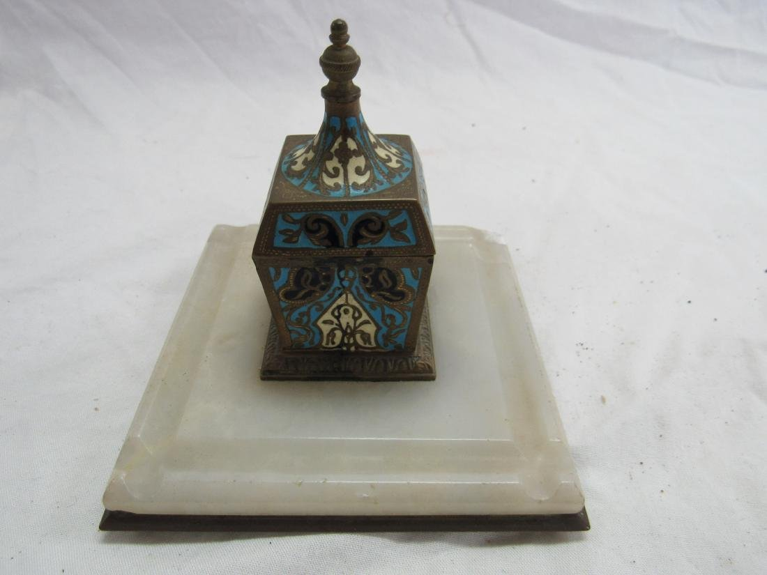 French Champleve Cloisonne Enamel Jade Inkwell