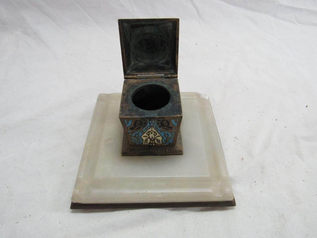French Champleve Cloisonne Enamel Jade Inkwell - 2