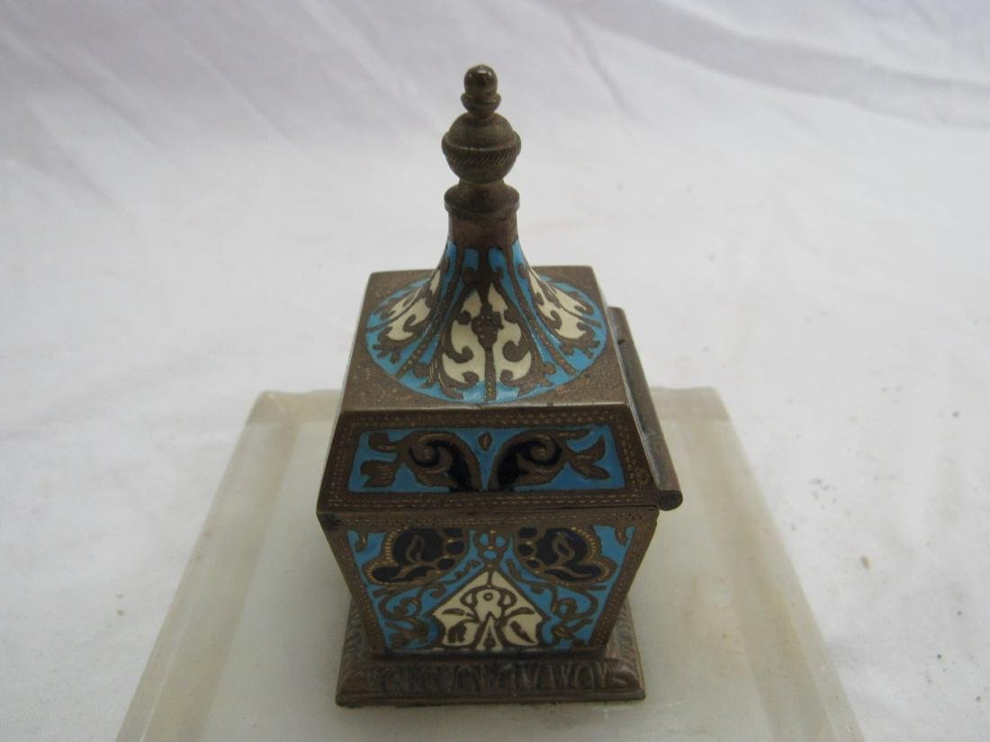 French Champleve Cloisonne Enamel Jade Inkwell - 3