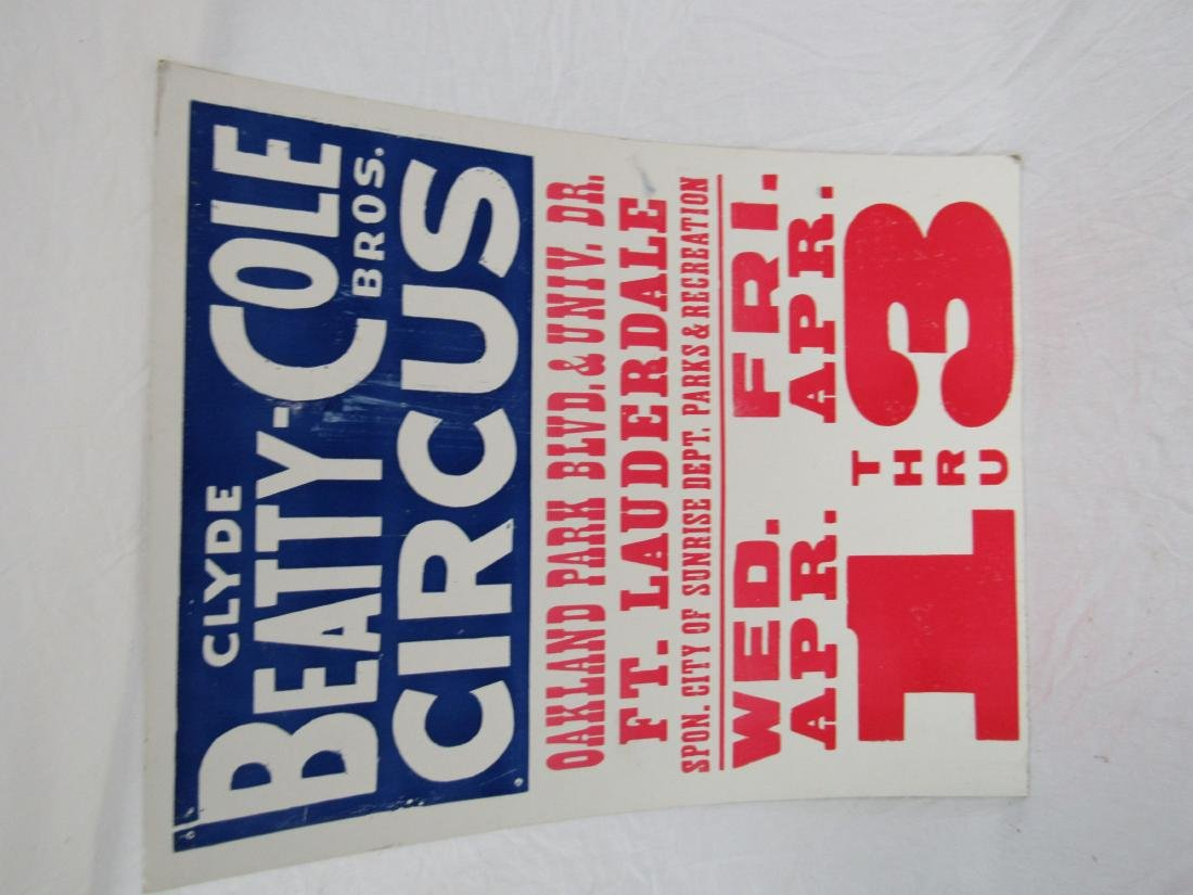 Vintage Clyde Beatty Circus Poster, Ft. Lauderdale