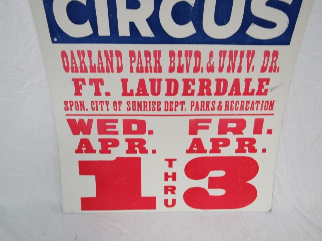 Vintage Clyde Beatty Circus Poster, Ft. Lauderdale - 3
